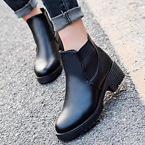 cheap Fashion Boots-Women's Boots Block Heel Round Toe PU Booties / Ankle Boots Fall & Winter Black
