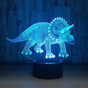 tanie Lampka nocna i dekoracja-roślinożerne dinozaury 3D lampa LED lampki nocne nowość iluzja LED lampka nocna z kablem USB prezent urodzinowy na przyjęcie świąteczne