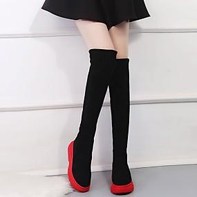 billige Mote Boots-Dame Støvler Over-The-Knee Boots Creepers Rund Tå Sløyfe Sateng Lårhøye støvler minimalisme Høst vinter Svart / Rød / Fargeblokk