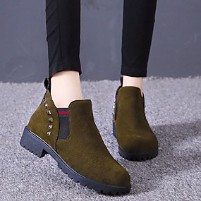 cheap Fashion Boots-Women's Boots Low Heel Round Toe PU Booties / Ankle Boots Classic / Minimalism Spring &  Fall / Fall & Winter Black / Brown / Army Green / Party & Evening / Color Block