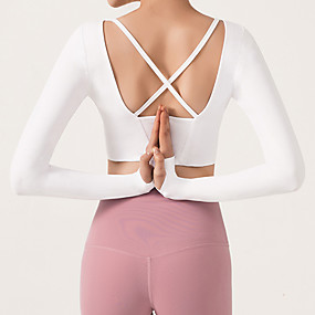 cheap Women's Activewear-Women's Yoga Top Crop Top Open Back Cropped Solid Color White Black Burgundy Yoga Fitness Running Top Long Sleeve Sport Activewear Breathable Quick Dry Comfortable Stretchy