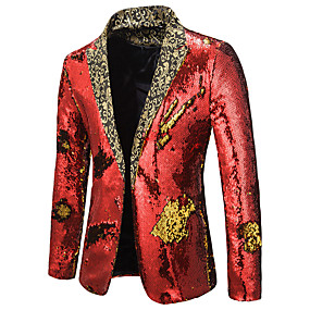 preiswerte Herrenmode-Herrn Blazer, Einfarbig Gekerbtes Revers Polyester Schwarz / Purpur / Gold
