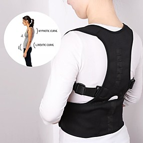 cheap Massagers & Supports-Unisex Adjustable POSTURE CORRECTION BELT Support Corrector Back Brace Vest Lumbar(black)