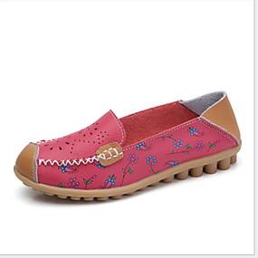 voordelige Damesschoenen met platte hak-Dames Platte schoenen Platte hak Ronde Teen Leer Zomer Wit / Fuchsia / Oranje