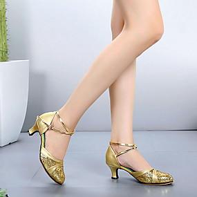 preiswerte Tanzschuhe-Damen Tanzschuhe Leder Schuhe für modern Dance Absätze Starke Ferse Schwarz / Gold / Silber