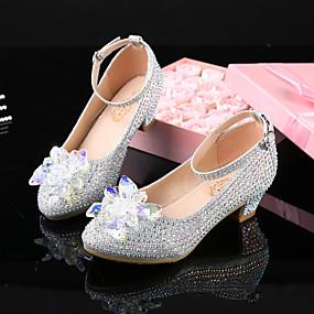 preiswerte Schuhe für Kinder-Mädchen Schuhe für das Blumenmädchen Kunststoff High Heels Kleine Kinder (4-7 Jahre) / Große Kinder (ab 7 Jahren) Kristall / Glitter / Schnalle Silber Frühling / Herbst / Party & Festivität / Gummi
