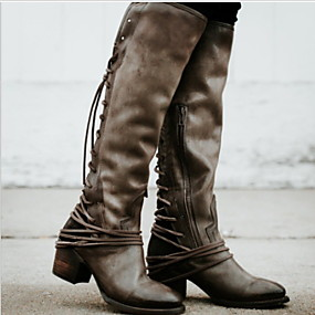 billige Mote Boots-Dame Støvler Knehøye Støvler Tykk hæl Rund Tå PU Knehøye støvler Høst vinter Svart / Brun / Grå