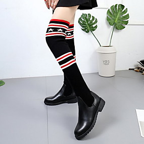 cheap Fashion Boots-Women's Boots Knee High Boots Flat Heel Round Toe PU Knee High Boots Winter Black