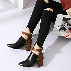 cheap Fashion Boots-Women's Boots Chunky Heel Pointed Toe Buckle PU Booties / Ankle Boots Preppy / Minimalism Spring &  Fall / Fall & Winter Black / Leopard / Color Block