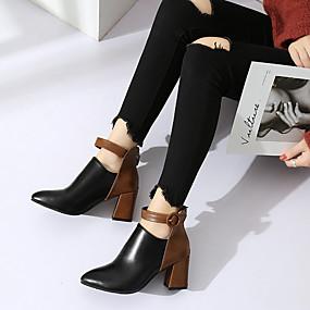 billige Mote Boots-Dame Støvler Tykk hæl Spisstå Spenne PU Ankelstøvler Preppy / minimalisme Vår & Vinter / Høst vinter Svart / Leopard / Fargeblokk