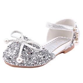 preiswerte Schuhe für Kinder-Mädchen Neuheit / Schuhe für das Blumenmädchen PU Flache Schuhe Kleine Kinder (4-7 Jahre) Walking Schleife Silber / Rosa Herbst / Winter / Gummi