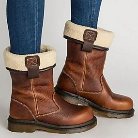 cheap Fashion Boots-Women's Boots Flat Heel Round Toe PU Mid-Calf Boots Fall & Winter Brown
