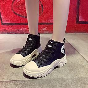 voordelige Damessneakers-Dames Sneakers Creepers Ronde Teen Canvas Informeel / Zoet Herfst Zwart / Geel / Kleurenblok / leuze