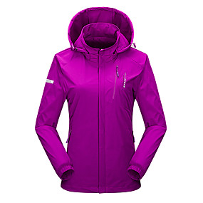 cheap Camping, Hiking & Backpacking-Wolfcavalry® Women's Hiking Jacket Autumn / Fall Spring Outdoor Patchwork Thermal Warm Waterproof Windproof Breathable Top Elastane Full Length Hidden Zipper Hunting Fishing Climbing Purple Red