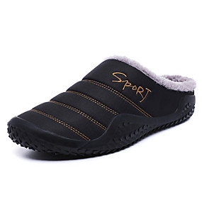 cheap Fashion Slippers-Men's Comfort Shoes Faux Leather Winter Casual Slippers & Flip-Flops Warm Black / Blue