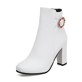 billige Mote Boots-Dame Støvler Tykk hæl Spisstå PU Ankelstøvler Forretning / minimalisme Gange Høst vinter Svart / Hvit / Gul
