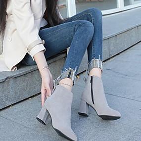 billige Mote Boots-Dame Støvler Tykk hæl Rund Tå Semsket lær Ankelstøvler Høst vinter Svart / Brun / Burgunder