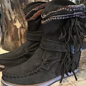 billige Mote Boots-Dame Støvler Komfort Sko Flat hæl Rund Tå PU Støvletter Høst vinter Svart / Mørkebrun / Grønn
