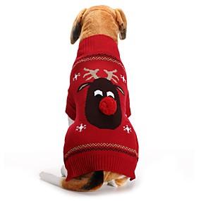 preiswerte Sport & Hobbys-Hunde Pullover Hundekleidung Schwarz Rot Kostüm Corgi Beagle Shiba Inu Acrylfasern Tier Rentier Halloween Weihnachten XXS XS S M L XL