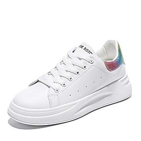 voordelige Damessneakers-Dames Sneakers Platte hak Ronde Teen Leer Dad Shoes Herfst winter Zilver / Regenboog