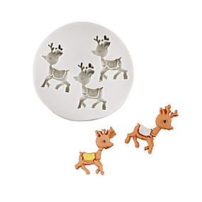 preiswerte Partydekoration-Weihnachten Elch Rentier Schokoladenform Fondantkuchen Silikonform Hause Backgerät