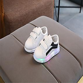preiswerte Schuhe für Kinder-Mädchen Leuchtende LED-Schuhe PU Sneakers Kleine Kinder (4-7 Jahre) / Große Kinder (ab 7 Jahren) Walking LED Regenbogen / Silber / Rosa Frühling / Sommer / Gummi