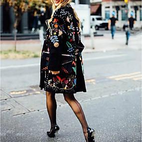 preiswerte Damenbekleidung-Damen Alltag Herbst Winter Standard Mantel, Pflanzen ohne Kragen Langarm Polyester Schwarz