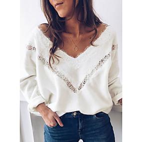 preiswerte Neu Eingetroffen-Damen Solide Langarm Lose Pullover Pullover Jumper, V-Ausschnitt Weiß S / M / L