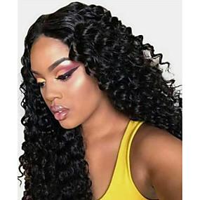 ราคาถูก Lace Wigs with Bangs-วิกผมจริง มีลูกไม้ด้านหน้า วิก ฟรี Part สไตล์ ผมบราซิล เป็นลอนคลื่น ดำ วิก 130% Hair Density คลาสสิก ผู้หญิง แฟชั่น สำหรับผู้หญิง Short ยาว ความยาวระดับกลาง วิกผมแท้ Clytie