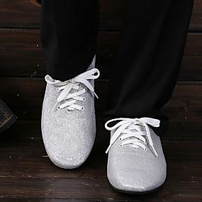 preiswerte Tanzschuhe-Herrn Tanzschuhe Kunstleder Schuhe für den lateinamerikanischen Tanz Flach, Ballerina Flacher Absatz Silber
