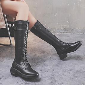 billige Mote Boots-Dame Støvler Knehøye Støvler Lav hæl Rund Tå Mikrofiber Knehøye støvler Sommer Svart / Beige