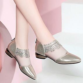 voordelige Damesschoenen met platte hak-Dames Platte schoenen Platte hak Ronde Teen PU Herfst winter Zwart / Goud