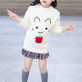 preiswerte Baby & Kinder-Kinder Mädchen Grundlegend Druck Langarm Pullover & Cardigan Weiß