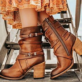 halpa Muotisaappaat-Naisten Bootsit Paksu korko Pyöreä kärkinen Kumi / Tekoturkis Säärisaappaat Syystalvi Musta / Ruskea / Keltainen