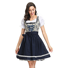 cheap Cosplay Costumes-Dirndl Trachtenkleider Women's Bavarian Vacation Dress Beer Festival Oktoberfest Costume Dirndl Oktoberfest Beer Festival / Holiday Blue Easy Carnival Costumes Plaid