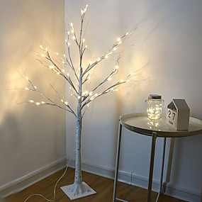 cheap Christmas Decorations-LED Silver Birch Tree Lamp Christmas Festival Modern Decoration Indoor Warm White Holiday Fairy Light Garland