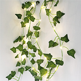 cheap LED String Lights-2M Artificial Plants LED String Light Creeper Green Leaf Ivy Vine for Home Wedding Decor Lamp DIY Hanging Garden Yard Lighting (Come Without Battery)3pcs 1pc