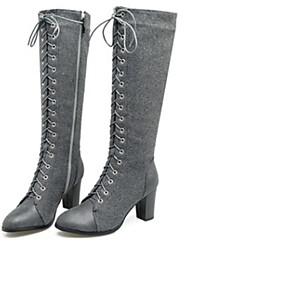 billige Mote Boots-Dame Støvler Knehøye Støvler Tykk hæl Rund Tå PU Knehøye støvler Vinter Svart / Brun / Grønn