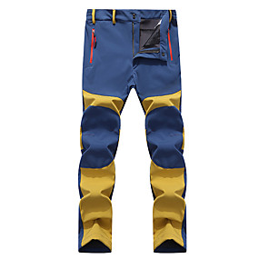 cheap Camping, Hiking & Backpacking-Men's Hiking Pants Trousers Softshell Pants Patchwork Winter Outdoor Thermal Warm Waterproof Windproof Fleece Lining Softshell Elastic Waist Pants / Trousers Bottoms Blue / Black Yellow Army Green