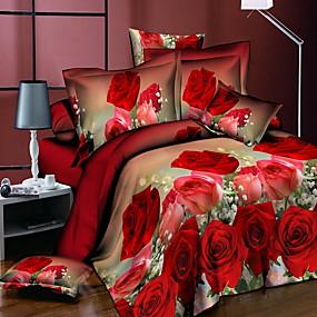 preiswerte Covers 3D Duvet-Bettbezug-Sets Blumen / Pflanzen Polyester / Polyamid Bedruckt 3 StückBedding Sets