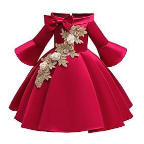 preiswerte Baby & Kinder-Kinder Baby Mädchen Aktiv Süß Solide Blumen Bestickt Halbe Ärmel Knielang Kleid Rote