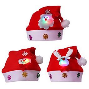 preiswerte Dekorative Beleuchtung-3pcs führten erwachsenen Kindweihnachtsroten Kappen Sankt-Neuheitshut für Weihnachtsfestweihnachtsfest Chapeau-Hut