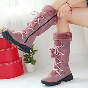 billige Mote Boots-Dame Støvler Flat hæl Rund Tå Semsket lær Støvletter Høst vinter Svart / Brun / Lilla