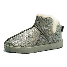 billige Mote Boots-Dame Støvler Flat hæl Rund Tå Fjær Syntetisk Vintage / minimalisme Vår & Vinter / Høst vinter Svart / Gul / Grønn