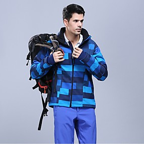 cheap Camping, Hiking & Backpacking-Women's Men's Hiking Jacket Autumn / Fall Winter Outdoor Patchwork Waterproof Windproof Fleece Lining Warm Jacket Top Softshell Climbing Camping / Hiking / Caving Traveling Purple Blue