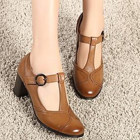 voordelige Damesschoenen met platte hak-Dames Platte schoenen Blokhak Ronde Teen PU Zomer Bruin / Grijs