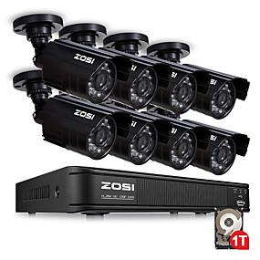 preiswerte DVR Set-zosi hd 8 kanal cctv system 8ch 1080n dvr 8 stücke 1 mp 720 p im freien wasserdichte video nachtsicht systemüberwachung dvr kit hdd 1 tb festplatte bewegungserkennung email alarm