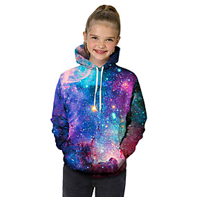 cheap Kids 3D Fashion-Kids Toddler Girls' Active Basic Fantastic Beasts Geometric Galaxy Color Block Print Long Sleeve Hoodie & Sweatshirt Purple