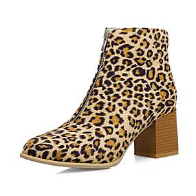 povoljno Cipele i torbe-Žene Čizme Kockasta potpetica Okrugli Toe PU Čizme gležnjače / do gležnja Vintage / Uglađeni Jesen zima Crn / Leopard / Bijela