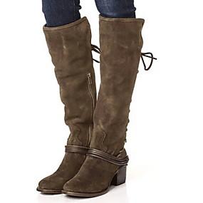 billige Mote Boots-Dame Støvler Tykk hæl Rund Tå Semsket lær Støvletter Høst vinter Svart / Brun / Kakifarget